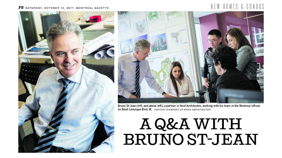 Bruno St-Jean dans la section New Homes and Condos du journal Montreal Gazette